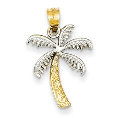29mm x 16mm Mia Diamonds 14k Solid Yellow Gold Polished and Textured Palm Trees Pendant