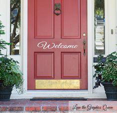 Elegant Script Welcome Front Door Vinyl Wall Decal Coral Front Doors, Coral Door, Front Door Entrance, Front Door Colors, Front Door Decor, Painting Metal Doors, Painted Doors, Paint Metal, House Paint Interior