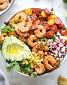 tequila shrimp taco salad @howsweeteats