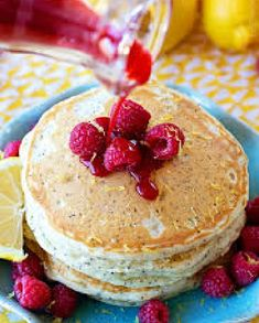 Low FODMAP Recipe and Gluten Free Recipe - Hot pancakes with raspberries