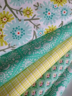 Heather Bailey Clementine fabric bundle by Fabric Shoppe Online Fabric- Fat Quarter Bundle, 5 total by fabricshoppe on Etsy