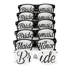 [6 PACK] Bachelorette Party Wedding Sunglasses Set for Bridal Party - Bridal Party Favors - Fun Photo Props Novelty Ideas (Black)
