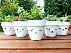 Paint your vases - suculentas - Plantio Painted Plant Pots, Painted Flower Pots, Flower Pot Crafts, Clay Pot Crafts, Succulent Centerpieces, Succulent Pots, Succulents, Outdoor Flowers, Diy Flowers