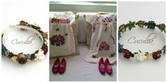 Corona de flores y diadema de flores conjuntadas con vestidos de estilo mejicano para niñas de arras