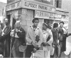 """Montgomery Bus Boycott. Participants wait for rides at a car pool pickup point during the Montgomery Bus Boycott"""" The 381-day boycott was sparked by the arrest of Rosa Parks for refusing to obey the order of bus driver Joseph Blake to give up her seat in the Colored section to a white man on a segregated city bus 