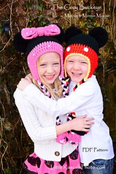 Mickey Mouse & Minnie Mouse Crochet Pom Pom Hat by thecozybuckeye