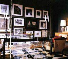 rug + photo/art wall.