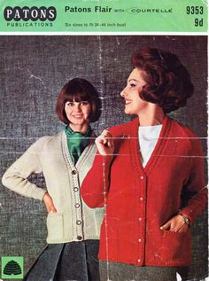 ladies cardigan knitting pattern pdf womens DK jacket Vintage 60s v neck border detail pockets 34-44 inch DK light worsted 8ply Download by coutureknitcrochet on Etsy