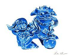 Blue Foo Dog Art Foo Dog Painting Blue and White Art Chinese Art Chinese Wall Decor Chinoiserie Art Hollywood Regency Decor Asian Art Canvas Art Watercolor Painting Chinese Foo Dog, Chinese Wall, Dog Paintings, Watercolor Paintings, Chinoiserie, Preppy, Leave Art, Fu Dog, White Art