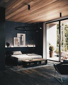 Get bags of inspiration for a modern bedroom design with this massive gallery of bedroom decor ideas, tips, tricks and modern bedroom accessories. Modern Bedroom Design, Master Bedroom Design, Contemporary Bedroom, Home Decor Bedroom, Bedroom Ideas, Bedroom Designs, Bedroom Furniture, Black Furniture, Wood Bedroom