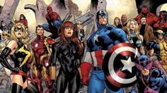 Line-up of superheroes, including Captain America, Spider-man and Iron Man, from Marvel Comics story Fear Itself