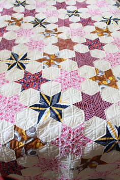 70s Vintage Mid Century 6 Point STAR Quilt - Finished Completed - 95 by 79 - Cottage Shabby - pink yellow white brown blue grey red. $99.99, via Etsy.
