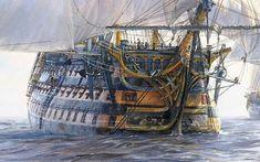 Man of war ship Sailboat Art, Nautical Art, Bateau Pirate, Old Sailing Ships, Hms Victory, Ship Of The Line, Ship Drawing, Ship Paintings, Man Of War