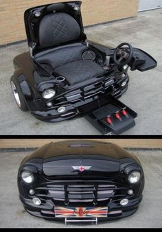 Mini Cooper chair takes it to the next level. Created from the front end of a classic black Mini Cooper, this chair is the ultimate pieces of gaming gear. It's no ordinary gaming chair though, this is a Mini Cooper multimedia station. Car Part Furniture, Automotive Furniture, Furniture Plans, Gaming Furniture, Man Cave Furniture, System Furniture, Automotive Group, Automotive Decor, Furniture Assembly