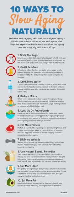 When it comes to aging, wrinkled, and sagging skin, we tend to think of slathering our skin with the latest beauty product to reduce lines and imperfections. 10 Ways to Slow Aging Naturally Anti Aging Skin Care, Natural Skin Care, Natural Health, Anti Aging Tips, Natural Face, Best Anti Aging, Organic Skin Care, Health And Nutrition, Health Tips