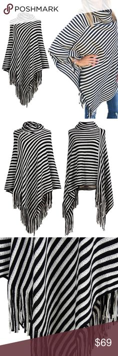 1 LEFT! Black & White fringe Poncho! This is a great addition to any woman'ss Fall or Winter Wardrobe. Unique side fringe with a black and white stripe design. this is a one size fits all item. This item has become a five star rated item and you can view my love notes under the about tab in my closet from previous purchasers. Trend Setter Diva Boutique Jackets & Coats