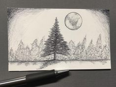 Well we got our first real snowfall of the year yesterday! Keeping with the pen drawings here's a tree with some snow. #drawing #illustration #sketch #snow #zebrapen #ballpointpen #ballpoint #penart