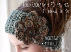 want to learn to Crochet :) Aunt Melly! You know how to crochet, right? Today's is the boho winter headband, a PDF crochet pattern by threemagicsheep. Bandeau Crochet, Crochet Flower Headbands, Crochet Headband Pattern, Knitted Headband, Crochet Flowers, Boho Headband, Love Crochet, Learn To Crochet, Knit Crochet
