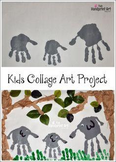 Kids Collage Art: Handprint Elephant Jungle Safari Craft - family art project