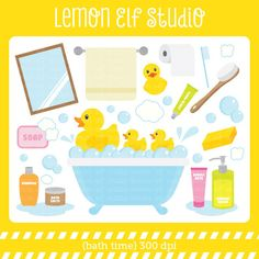Bath Time-Digital Clipart (LES.CL16) – Lemon Elf Studio