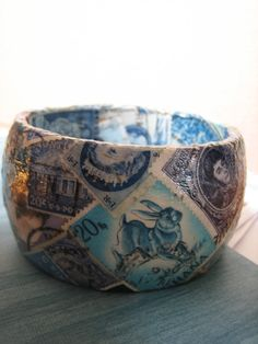 Big Blue Bangle with Vintage Postage Stamps by halfabee on Etsy