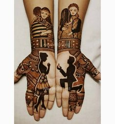Few cute bride and groom mehendi portraits inspiration 💕😍 🔹 🔹 Beautiful back sheer blouse designs💕😍 🔹 🔹 Designer Blouse Ideas… Dulhan Mehndi Designs, Mehandi Designs, Mehndi Designs Feet, Latest Bridal Mehndi Designs, Mehndi Designs 2018, Stylish Mehndi Designs, Mehndi Design Photos, Wedding Mehndi Designs, Beautiful Mehndi Design