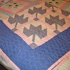 Feedsack Patchwork Fan Pillow Sham Pretty Pink Blue