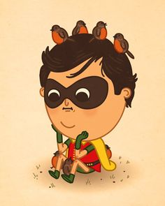 "Robin with Robins character design by Mike Mitchell, from ""just like us,"" a series of pop culture icons"