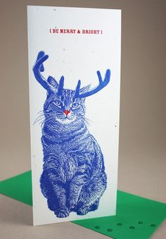 Tabby Rudolph Merry and Bright Holiday Cards  4 Pack by FuzzyMug, $14.00 (inspiration for head shot to do on canvas or rock).
