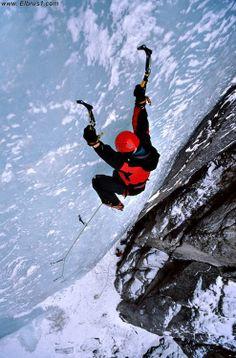 Ice climbing in Elbrus region, near to Tyrnyauz city