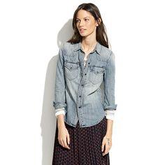 Western Jean Shirt in Desert Willow Wash - shirt stories - Women's DENIM - Madewell