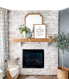 Whitewashing a fireplace — Mill City Workshop Whitewash Stone Fireplace, White Stone Fireplaces, Painted Stone Fireplace, White Wash Brick Fireplace, Paint Fireplace, Brick Fireplace Makeover, Fireplace Remodel, Fireplace Design, Brick Fireplace Decor