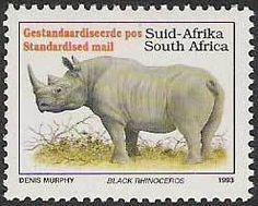 Black Rhinoceros (Diceros bicornis) Union Of South Africa, Rhinoceros, Gentle Giant, African Animals, Hippopotamus, African History, Postage Stamps, Rhinos, Mammals
