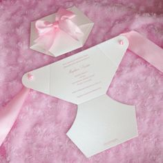 Luxe Diaper Baby Shower Invitation – White with Pink Bow - opens and closes to look like a real diaper!
