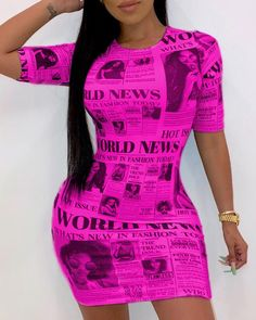 Short Sleeve Newspaper Pattern Bodycon Dress Shop- Women's Best Online Shopping - Offering Huge Discounts on Dresses, Lingerie , Jumpsuits , Swimwear, Tops and More. Trendy Outfits, Fashion Outfits, Women's Fashion, Casual Summer Dresses, Dress Casual, Buy Dress, Shirt Dress, Pattern Fashion, Short Sleeve Dresses