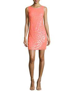 T8SPQ Aidan Mattox Floral-Sequined Chiffon Dress, Sherbert