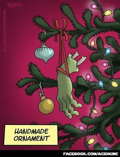 Zombie Holidays: Zombie-style Handmade X-mas ornament