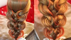 "The push curl waterfall braid..4 rubber bands and no curling needed! Коса с резинками - ""Сердечки"" - 2"