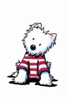 Westie Terrier Dog In Stripes by Artist KiniArt Cartoon Drawings, Animal Drawings, Cute Drawings, Westies, Dog Illustration, Illustrations, West Highland Terrier, White Terrier, Gatos