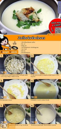 Selleriecremesuppe Try this celery cream soup a tasty vegetable soup! The celery cream soup recipe video is easy to find using the QR code :] cream soup. Veggie Recipes, Cooking Recipes, Healthy Recipes, Ital Food, Dessert Cake Recipes, Hungarian Recipes, Diy Food, Soups And Stews, Food Hacks