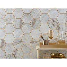 Bianco Orion Brass 6 in. Hexagon Polished Marble Mosaic - 11 x 12 - 100654623 Marble Mosaic, Mosaic Glass, Mosaic Tiles, Tienda Pop-up, White Tile Backsplash, Hexagon Backsplash, White Porcelain Tile, Kitchen Tiles, Kitchen Decor