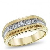 10K Two-Tone Gold, Diamond Ring for him, 1/2 ctw.