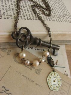 Shabby Chic Steampunk Key Necklace -antique skeleton key and watch face assemblage- - Shabby Chic Steampunk Key Necklace -antique skeleton key and watch face assemblage- key necklace Recycled Jewelry, Old Jewelry, Jewelry Crafts, Jewelry Art, Antique Jewelry, Vintage Jewelry, Jewelry Design, Jewelry Ideas, Coral Jewelry