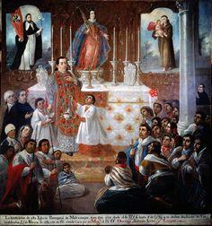 Dedicación del templo de Mocajac (detalle) (Miguel Jerónimo Zendejas). Parroquia de Molcajac, Puebla, Virreinato de Nueva España.