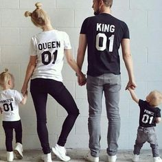 Fashion Letters Printed Short Sleeve Round Neck Parent-child T-shirt - Clothing