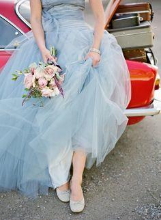 Love a blue wedding dress!