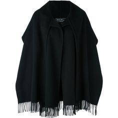 Salvatore Ferragamo Black Shawl (7,850 ILS) ❤ liked on Polyvore featuring accessories, scarves, black, oblong scarves, long scarves, long shawl, fringe scarves and fringe shawl