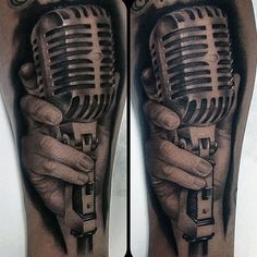 Impressive Microphone Tattoo Mens Arms