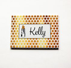 Personalized pocket mirror, Large Pocket mirror, Purse mirror, rectangle mirror, Faux Gold Foil, Gift for her, Polka Dot (5402) by KellysMagnets on Etsy
