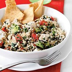 Chicken and Feta Tabbouleh Recipe by Cooking Light Healthy Salads, Healthy Eating, Healthy Recipes, Clean Eating, Eating Well, Meal Salads, Yummy Recipes, Healthy Food, Dinner Recipes